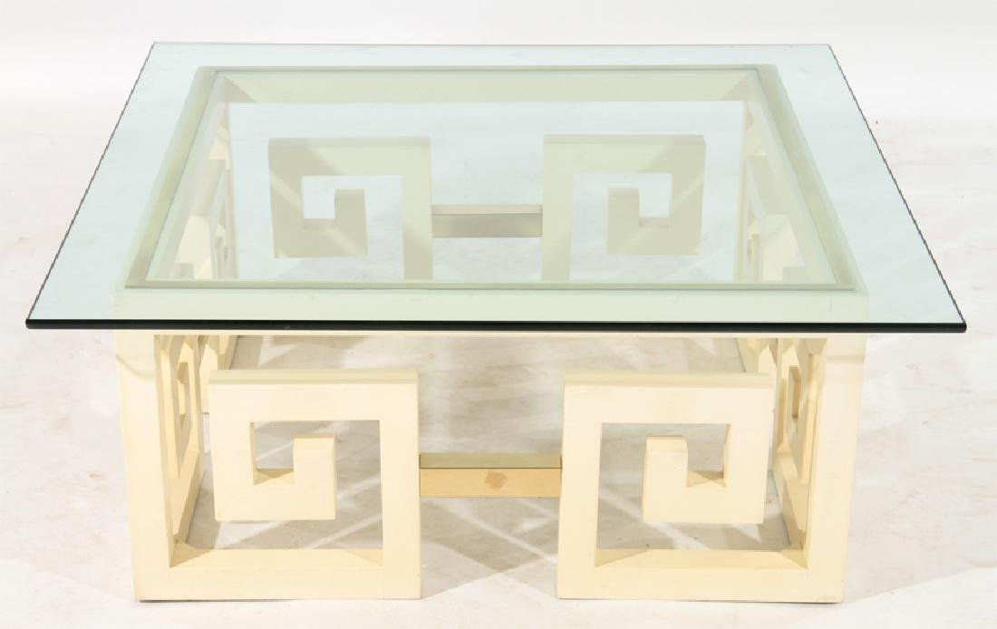 JAMES MONT STYLE PAINTED WOOD GLASS COFFEE TABLE