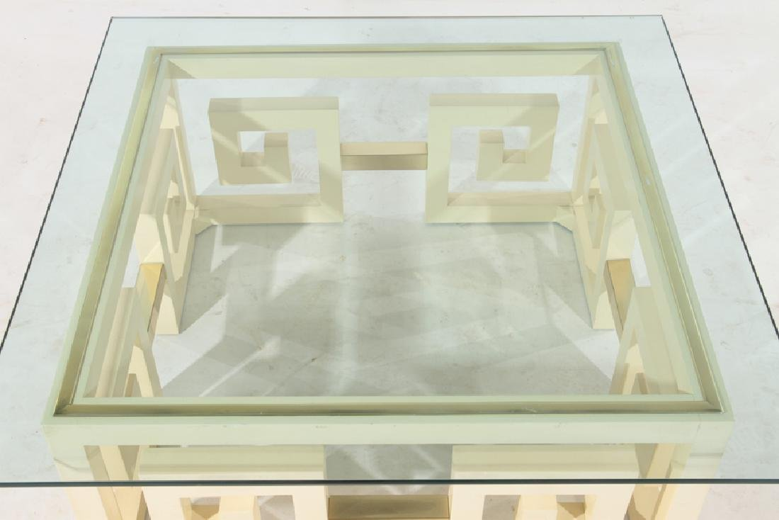 JAMES MONT STYLE PAINTED WOOD GLASS COFFEE TABLE - 2