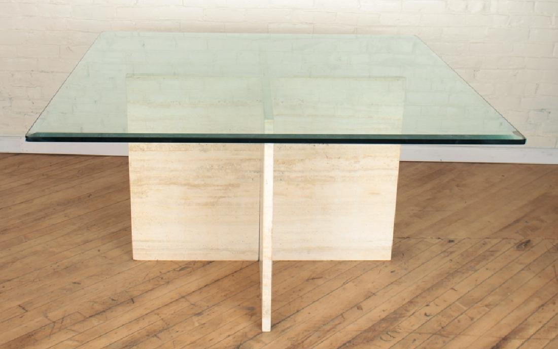 TRAVERTINE TABLE BEVELED GLASS SQUARE TOP C.1960