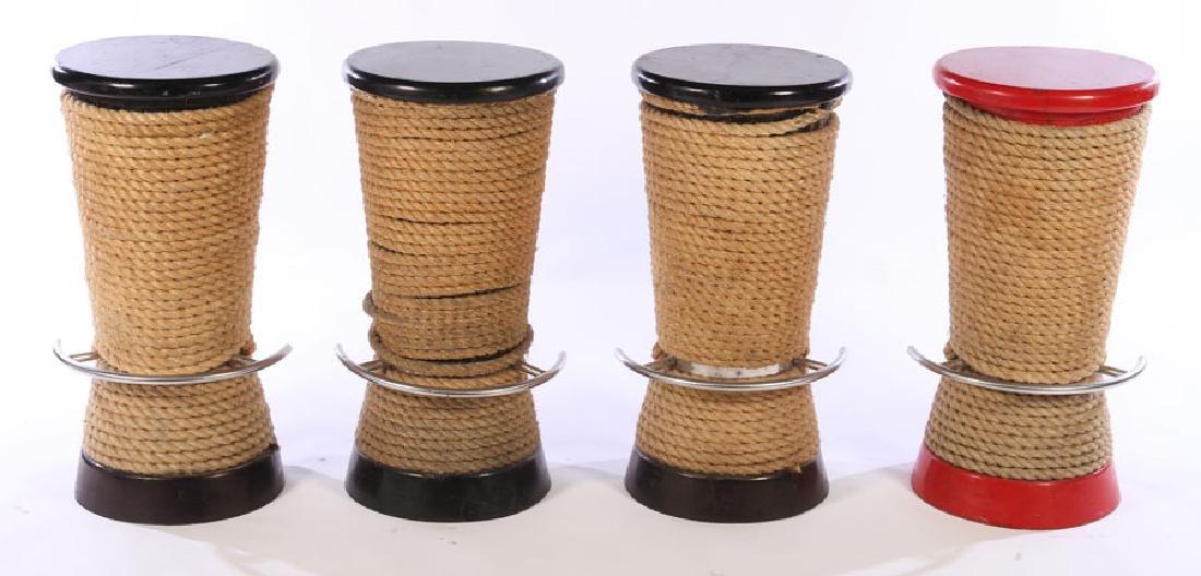 SET 4 NAUTICAL THEME ROPE DECORATED BAR STOOLS
