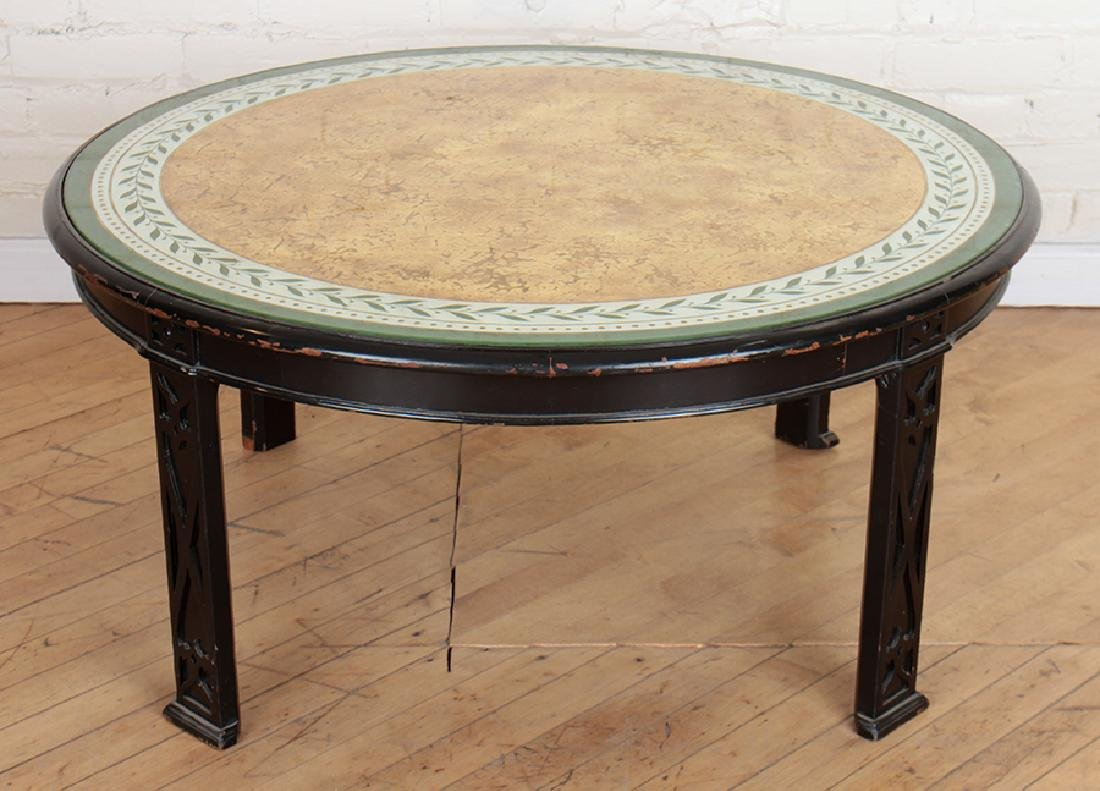 ROUND EBONIZED MODERN GLASS TOP COFFEE TABLE