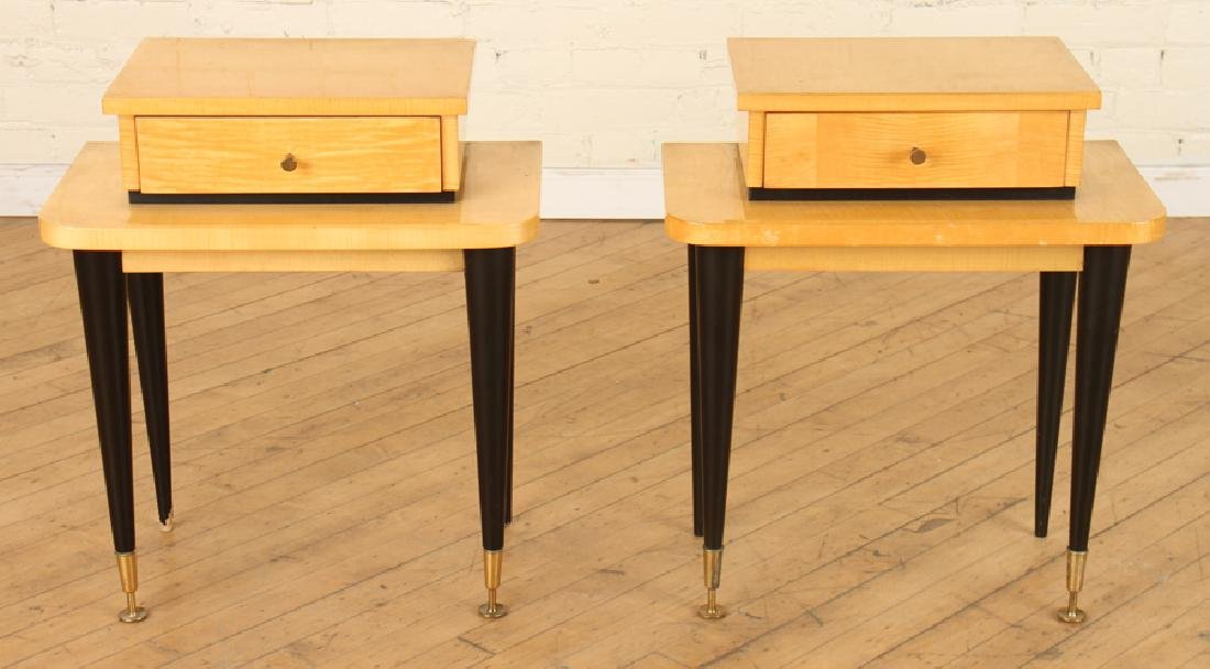 PAIR SYCAMORE BED STANDS EBONIZED LEGS C.1940