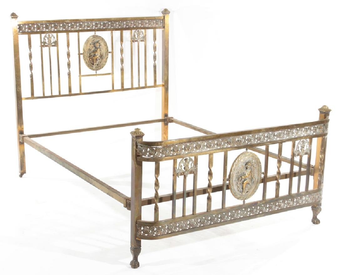 ITALIAN ART DECO FIGURAL BRONZE BED C.1920