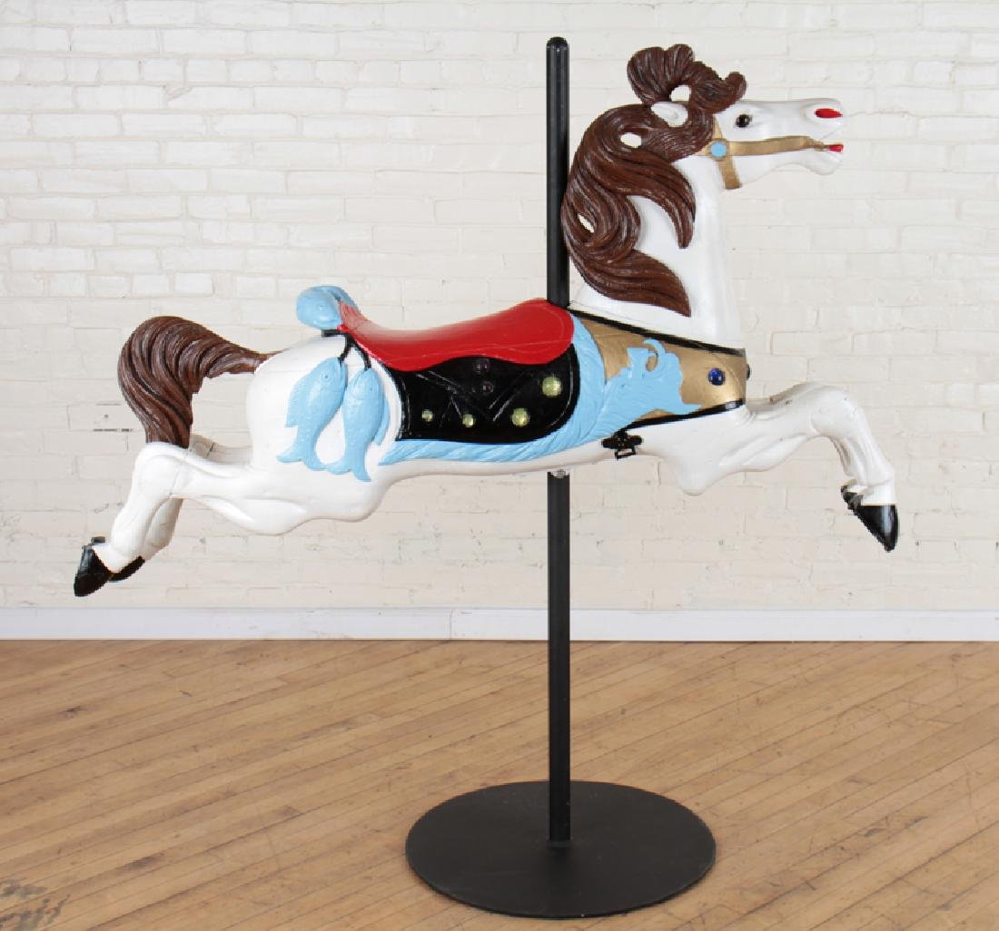PAINTED WOOD CAROUSEL HORSE ON STAND