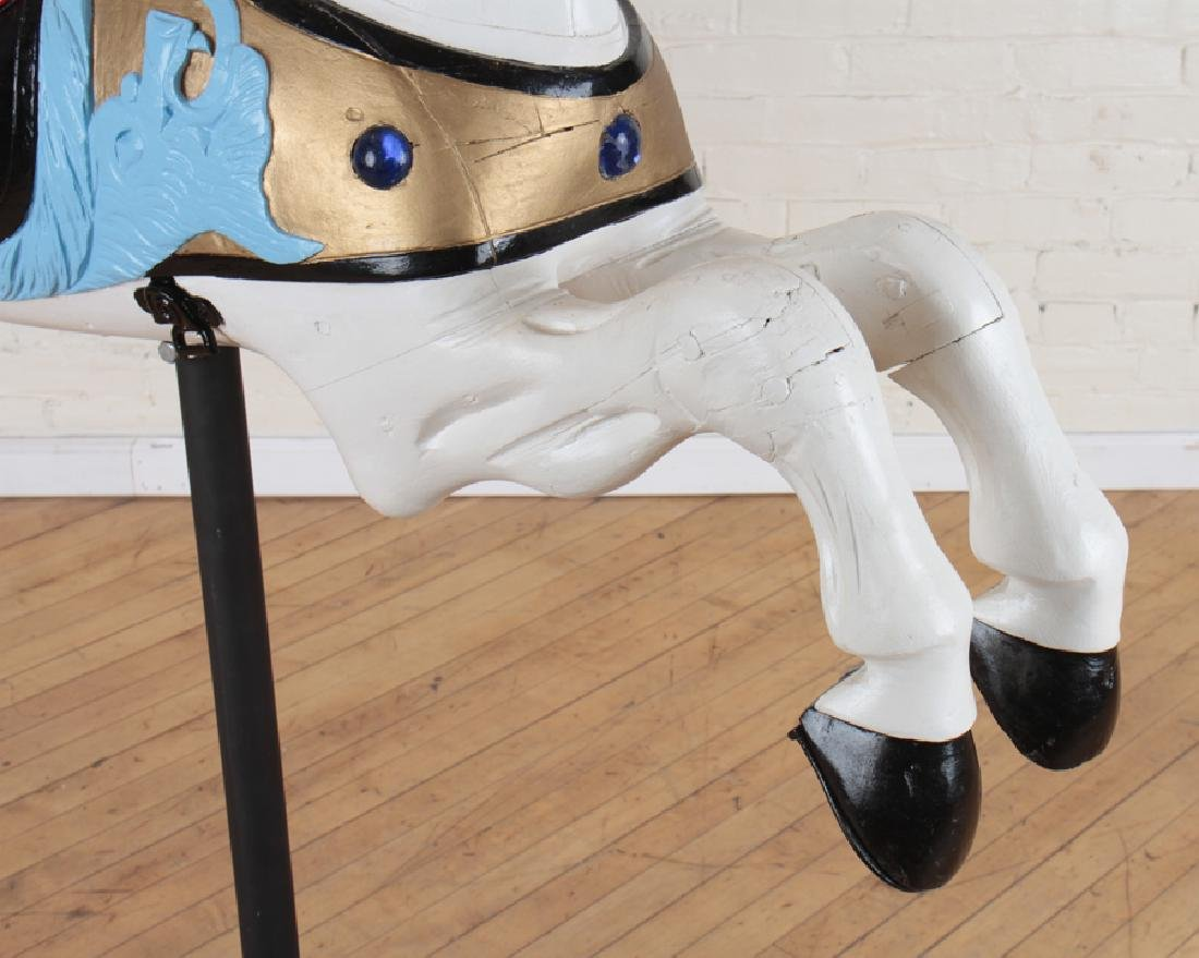 PAINTED WOOD CAROUSEL HORSE ON STAND - 3
