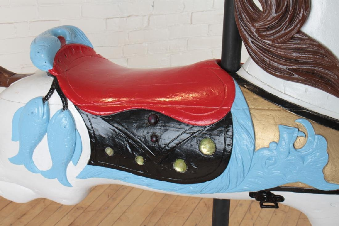 PAINTED WOOD CAROUSEL HORSE ON STAND - 4