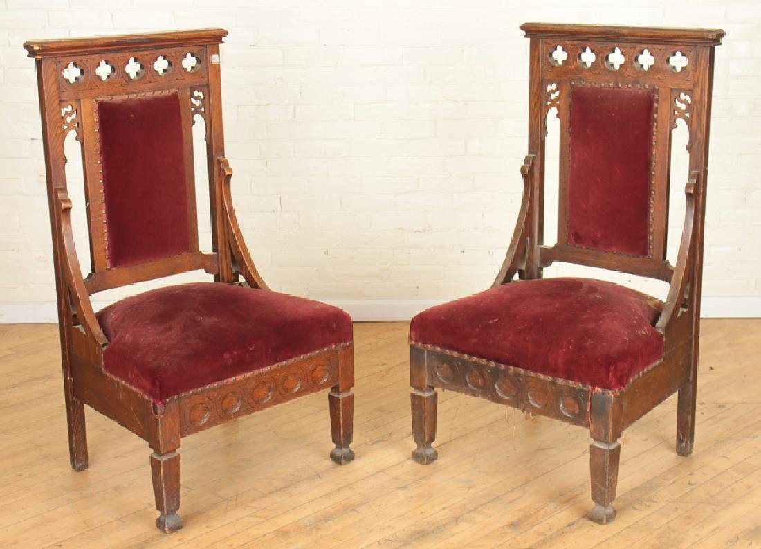 PAIR GOTHIC STYLE OAK CHAIRS CARVED BACK