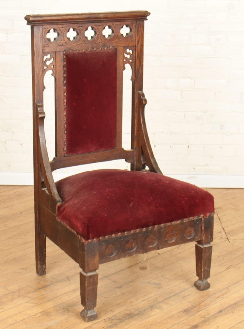 PAIR GOTHIC STYLE OAK CHAIRS CARVED BACK - 2