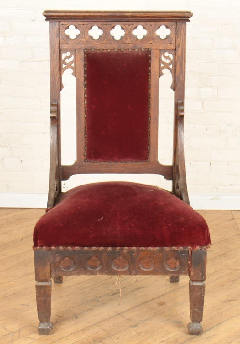 PAIR GOTHIC STYLE OAK CHAIRS CARVED BACK - 3