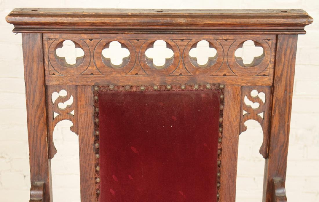PAIR GOTHIC STYLE OAK CHAIRS CARVED BACK - 4