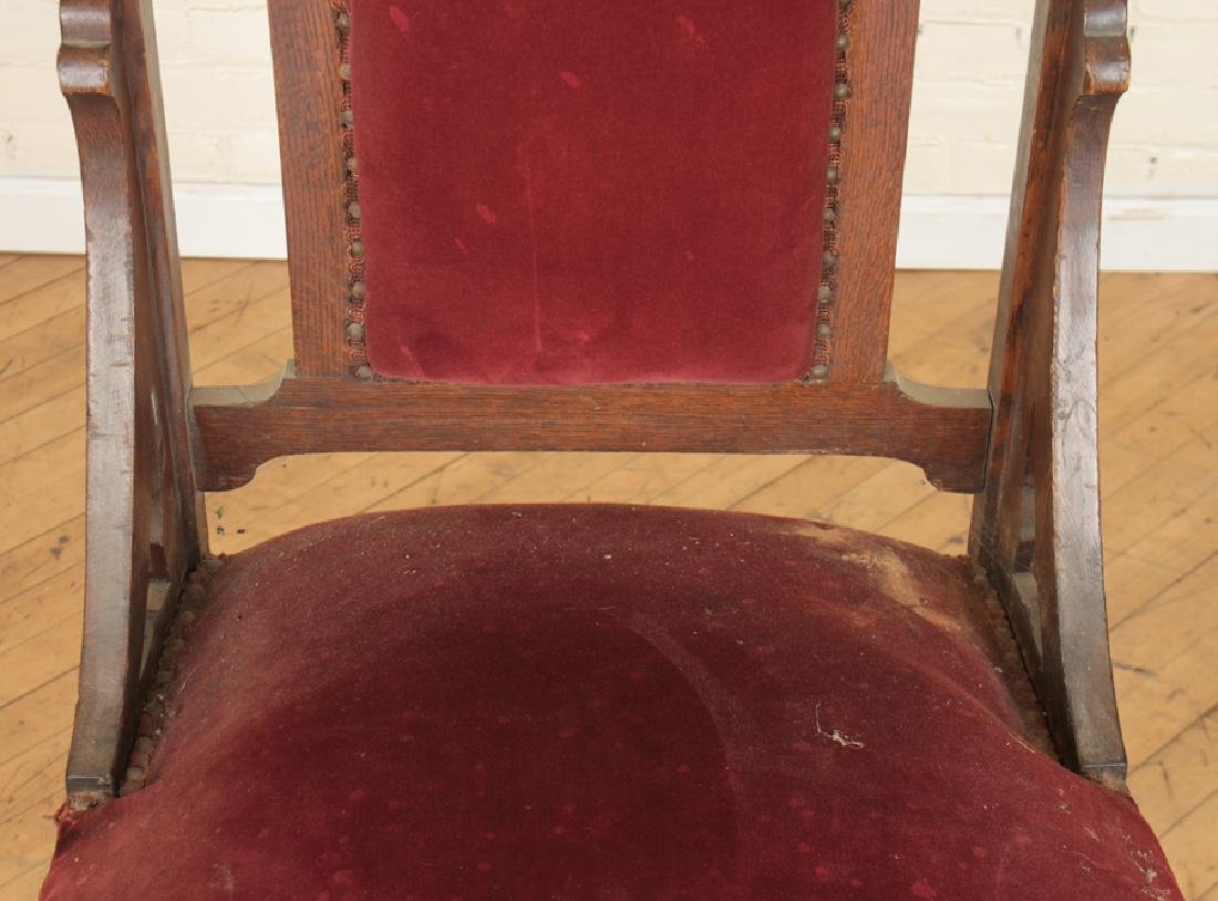 PAIR GOTHIC STYLE OAK CHAIRS CARVED BACK - 5