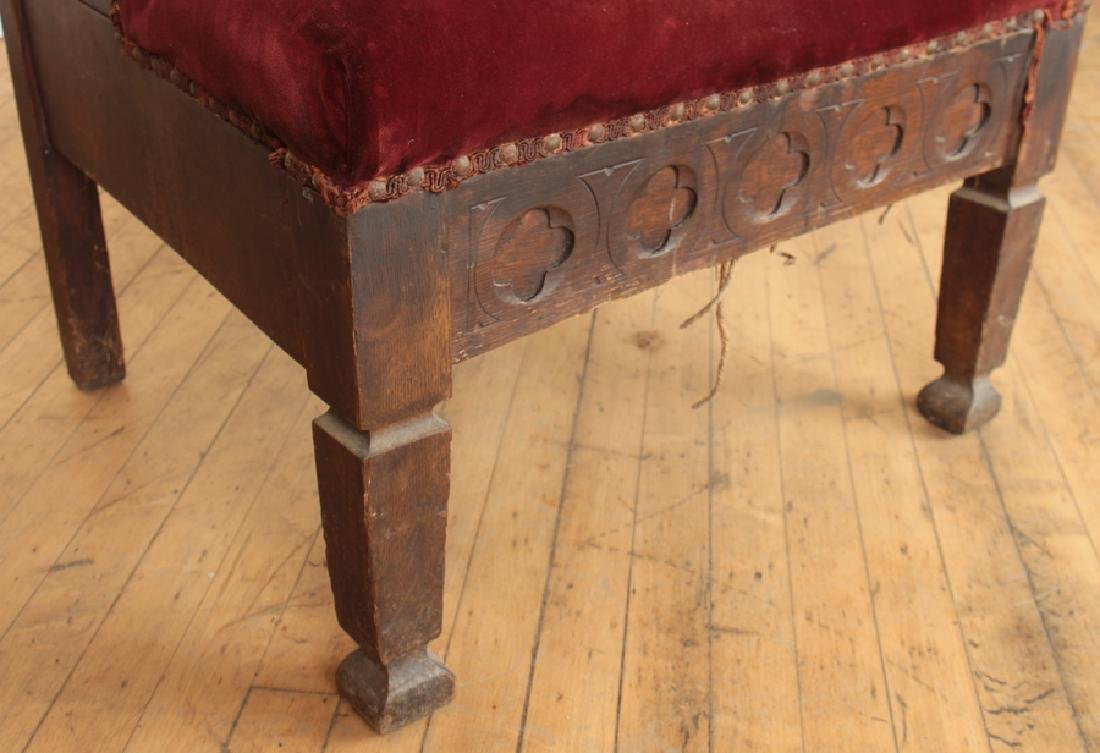 PAIR GOTHIC STYLE OAK CHAIRS CARVED BACK - 6
