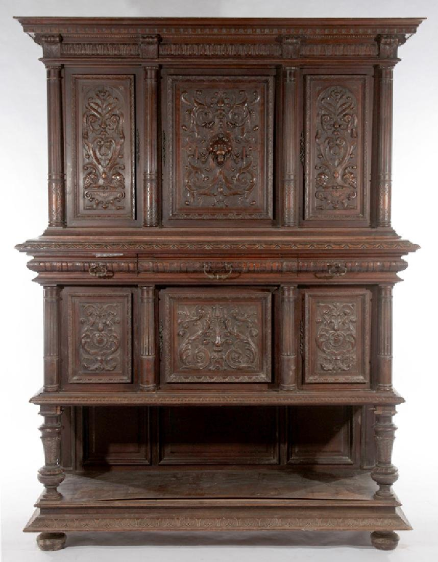LATE 19TH CENT FRENCH CARVED WALNUT CUPBOARD 1890
