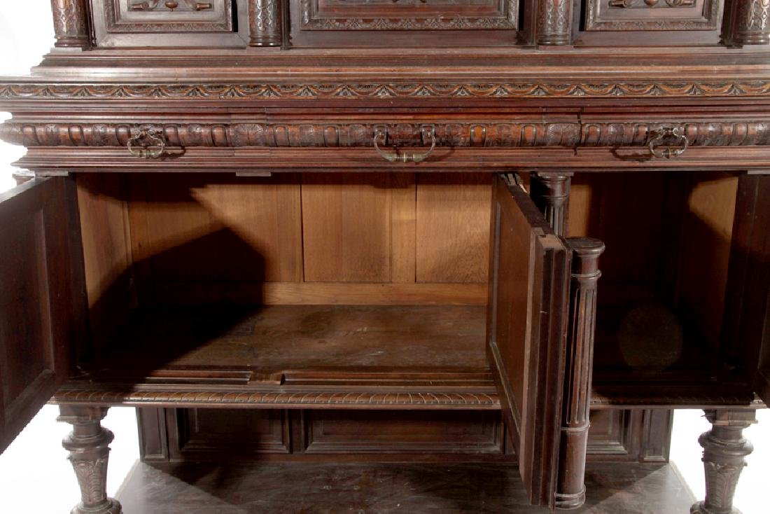 LATE 19TH CENT FRENCH CARVED WALNUT CUPBOARD 1890 - 6