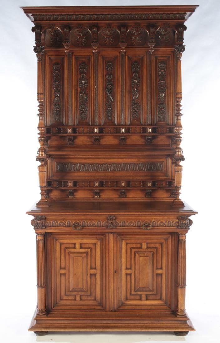 FRENCH CARVED WALNUT HENRI STYLE SERVER 1880