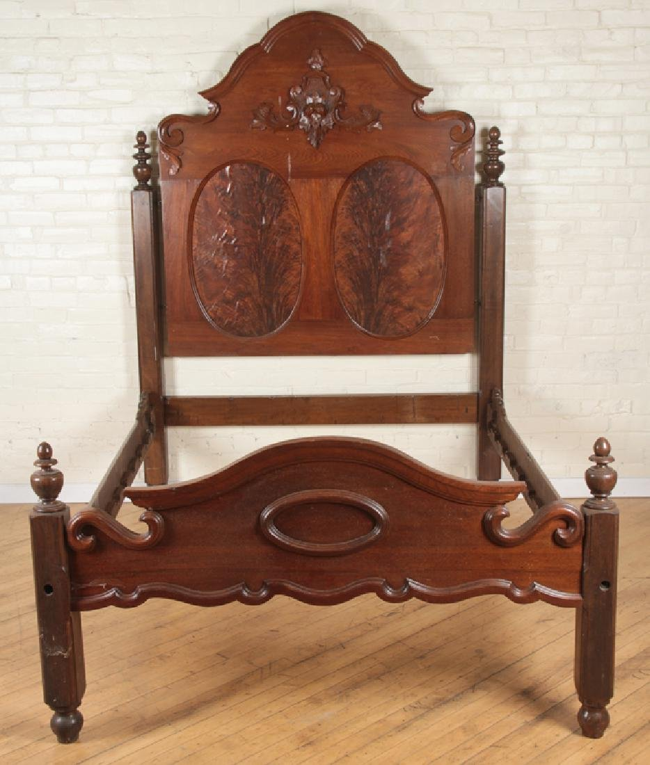 CARVED WALNUT FOUR POST BED CIRCA 1870