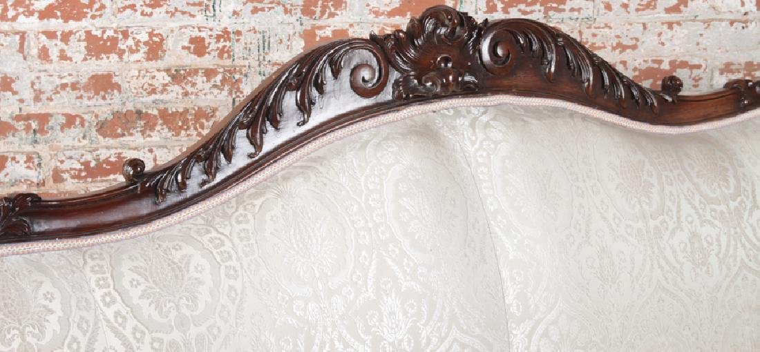HEAVILY CARVED AMERICAN VICTORIAN ROSEWOOD SOFA - 3