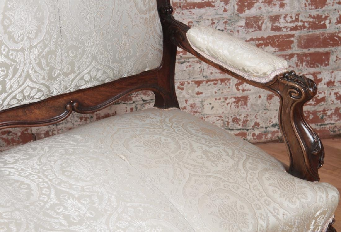 HEAVILY CARVED AMERICAN VICTORIAN ROSEWOOD SOFA - 4