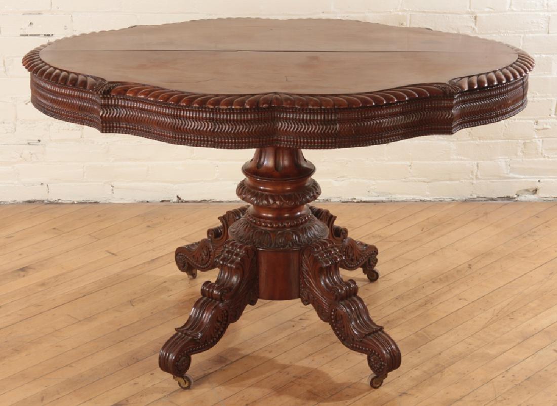 CARVED MAHOGANY CENTER TABLE CIRCA 1860