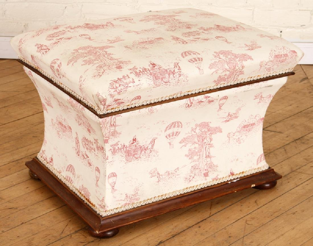 LATE 19TH CENT. ENGLISH LIFT LID WALNUT OTTOMAN