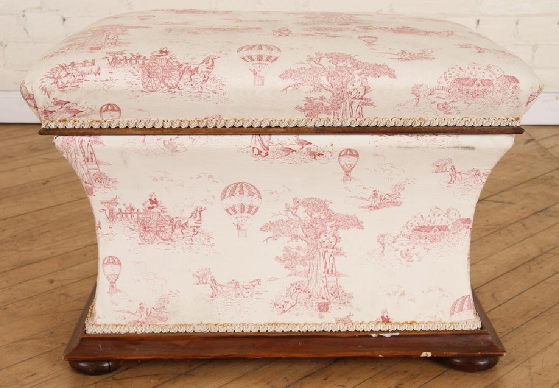 LATE 19TH CENT. ENGLISH LIFT LID WALNUT OTTOMAN - 2