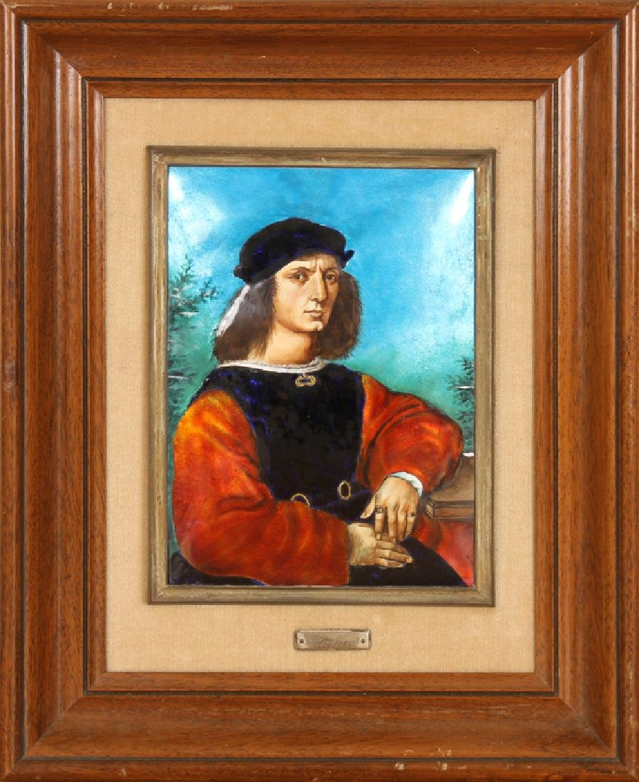 ENAMELED PORTRAIT OF RAPHAEL MAHOGANY FRAME