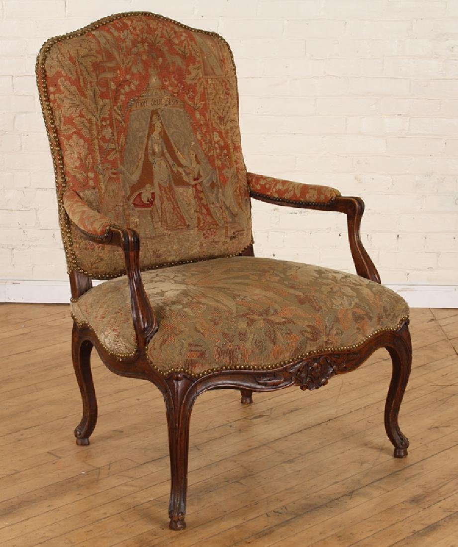 LATE 19TH C. LOUIS XV STYLE WALNUT OPEN ARM CHAIR