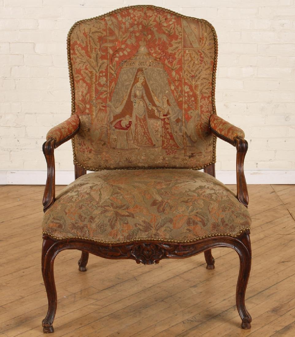 LATE 19TH C. LOUIS XV STYLE WALNUT OPEN ARM CHAIR - 2