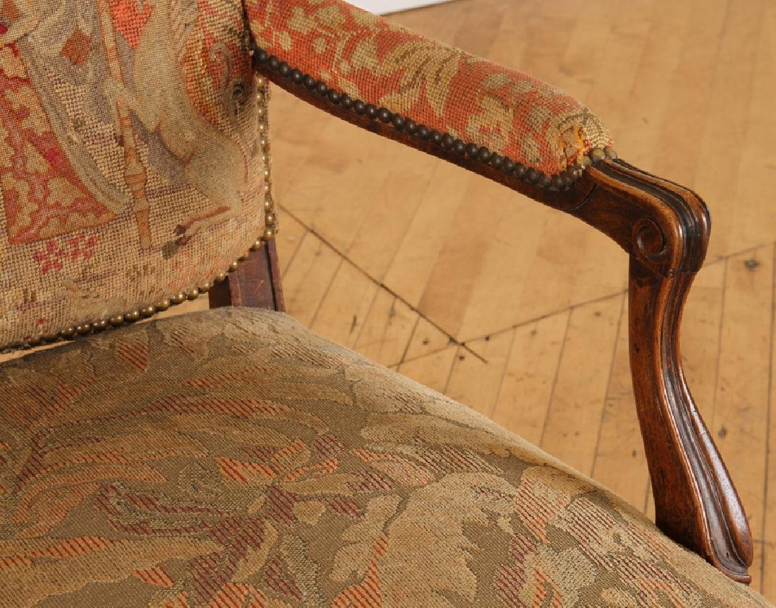 LATE 19TH C. LOUIS XV STYLE WALNUT OPEN ARM CHAIR - 4