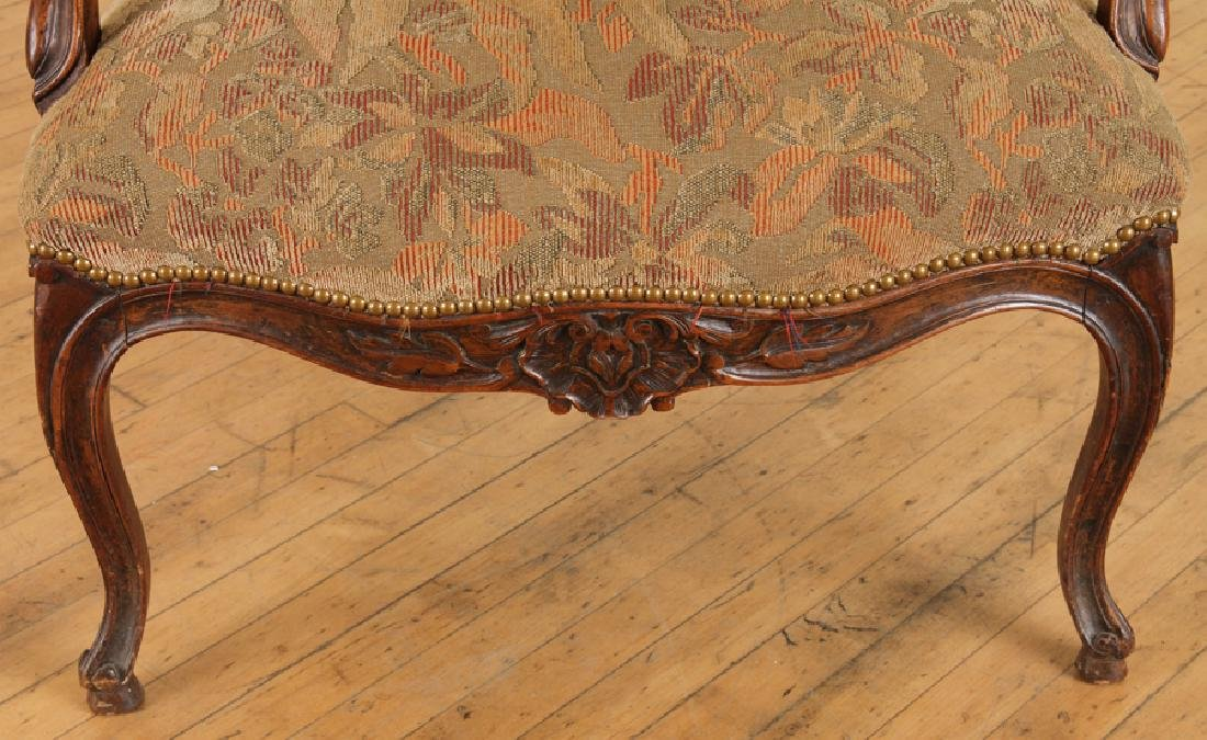 LATE 19TH C. LOUIS XV STYLE WALNUT OPEN ARM CHAIR - 5
