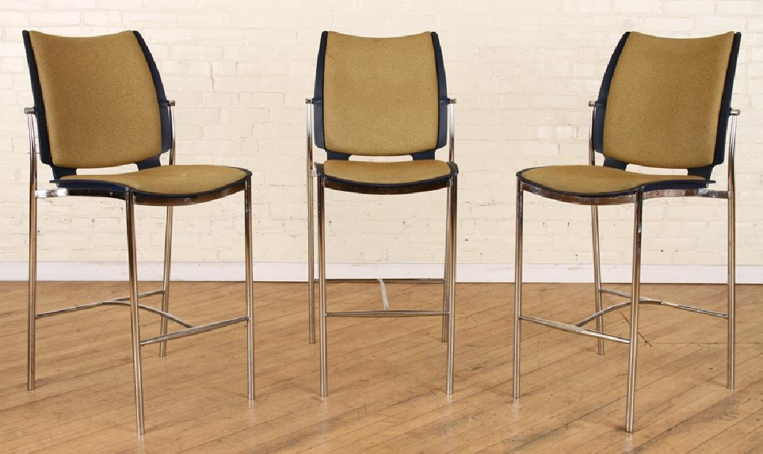 SET 3 UPHOLSTERED POLISHED CHROME BISTRO CHAIRS