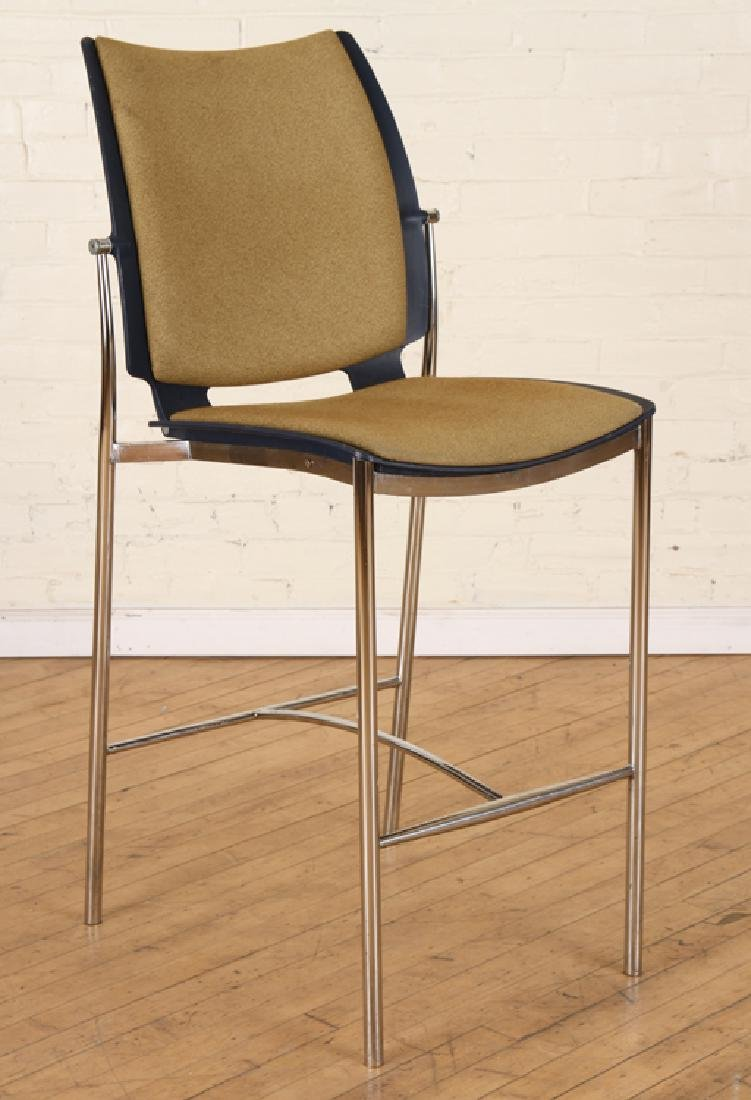 SET 3 UPHOLSTERED POLISHED CHROME BISTRO CHAIRS - 2