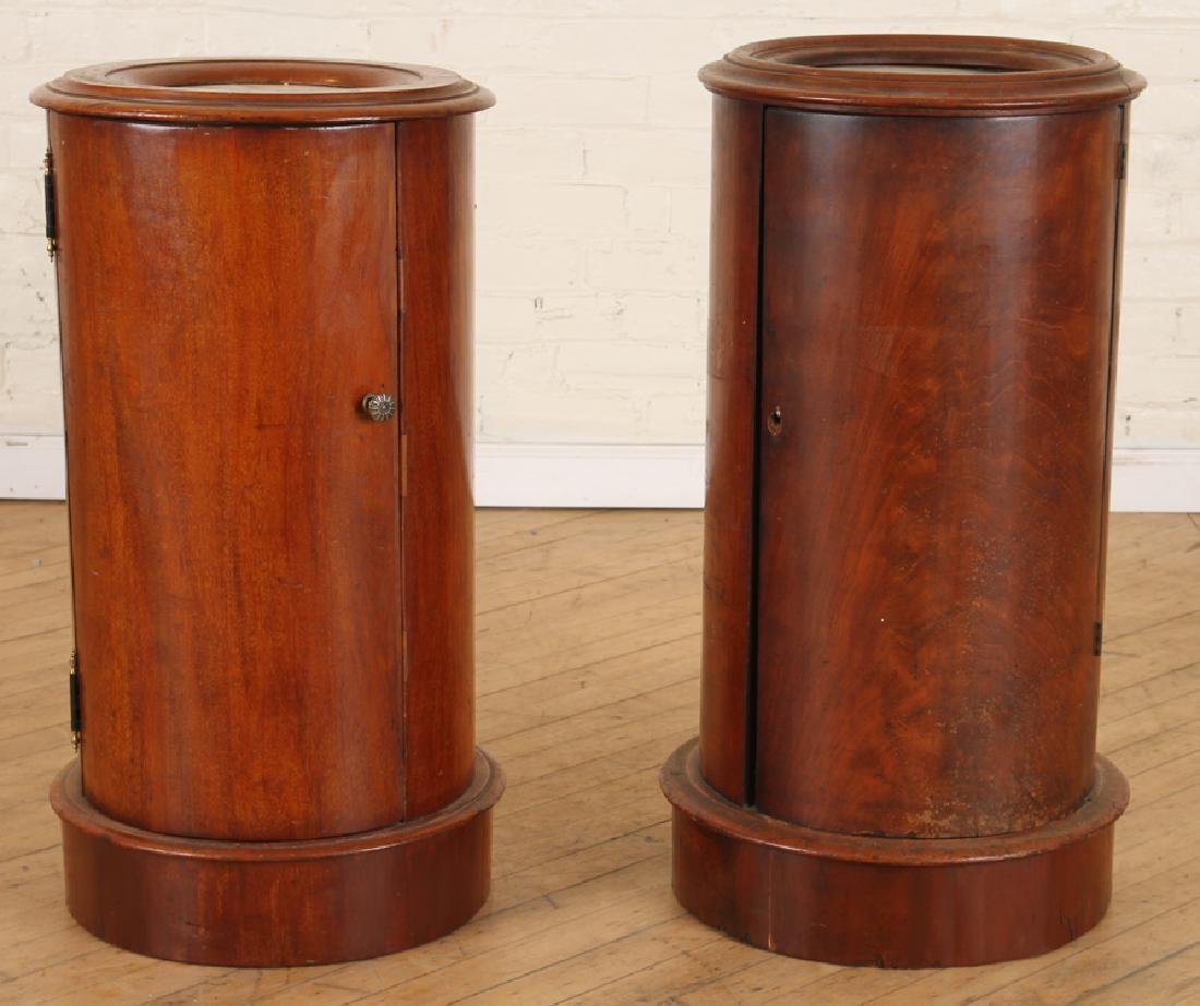 PAIR LATE 19TH C. MAHOGANY CYLINDER FORM END TABLES