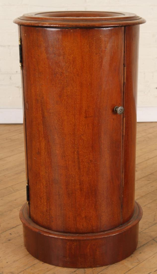 PAIR LATE 19TH C. MAHOGANY CYLINDER FORM END TABLES - 2
