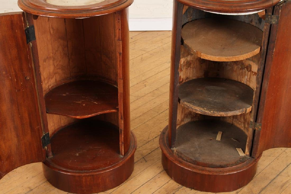 PAIR LATE 19TH C. MAHOGANY CYLINDER FORM END TABLES - 5