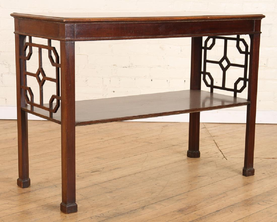 CHIPPENDALE STYLE WALNUT CONSOLE TABLE C.1920