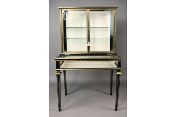 1:19th c ebonized bronze mntd vitrine display cabinet