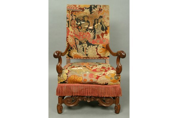 3: 19th c mahogany and needlepoint open arm chair