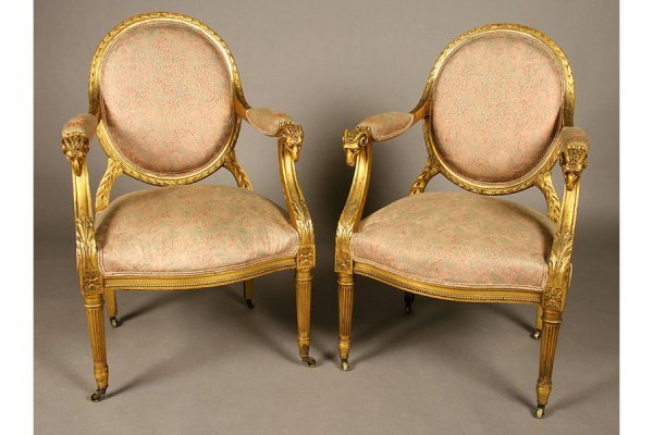 pr giltwood French arm chairs rams heads fortuny fabric