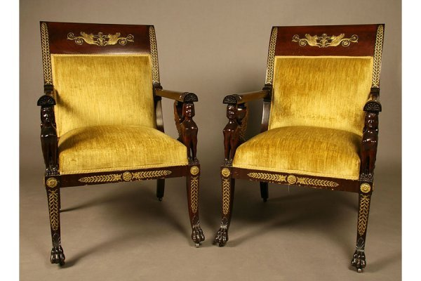 5: good pair  French Empire  carved arm chairs griffins