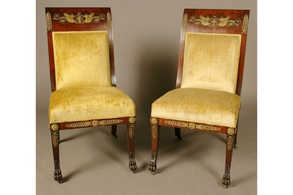 6: good pair  French Empire mahogany sidechairs griffin