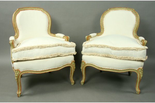 7:  pair painted French Louis XV bergere club chairs