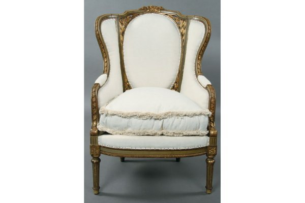 10: Louis XVI style French high back bergere chair w/