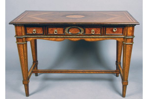 19th c  kingwood parquetry writing desk console table