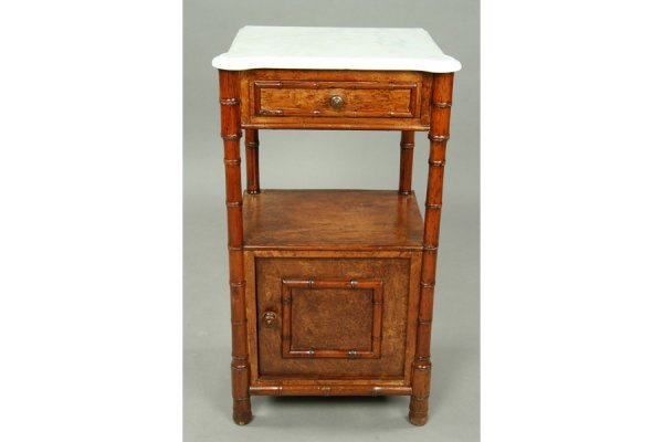 16: 2 19th c  English faux bamboo nighstands marble top