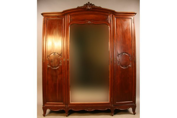 17:  French three door armoire wardrobe cabinet