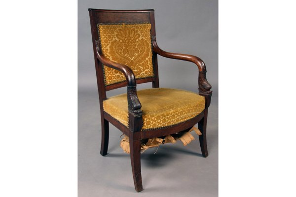 18: 19th century French arm chair with dolphin carved