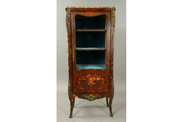 19: French Louis XV style marble top vitrine with