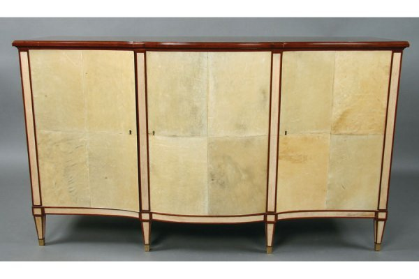 203: Jansen mahogany and parchment sideboard commode