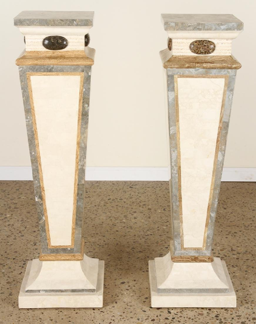 PAIR MAITLAND SMITH TESSELLATED MARBLE PEDESTALS